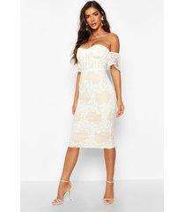 embroidered off shoulder midi dress, white