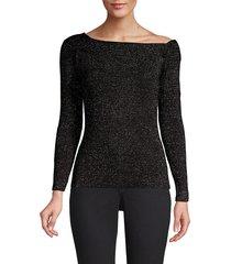 donna karan women's metallic asymmetrical ballet-neck top - black - size m