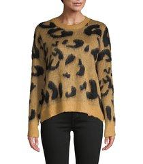 stellah women's leopard-print sweater - mustard - size s