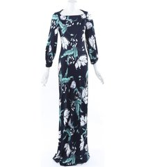 erdem 2019 etheline floral jersey gown green sz: s