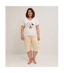 pijama blusa manga curta e calça pantacourt estampado curve & plus size | ashua curve e plus size | branco | g