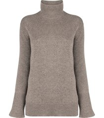 agnona roll-neck bell sleeved sweater - brown