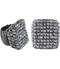 anel armazem rr bijoux quadrado cristais grafite