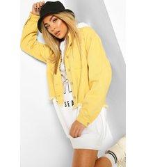 oversized washed denim shirt jacket, yellow
