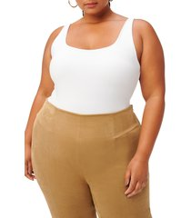 good american square neck thong bodysuit, size 3 in white at nordstrom