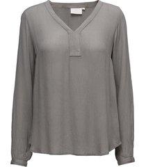 amber l/s blouse- min 2 blus långärmad grå kaffe