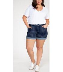 plus size striped denim shorts