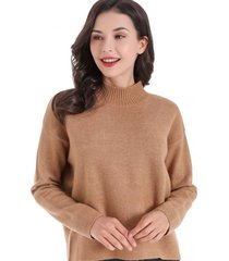 sweater cuello beatle corto café nicopoly