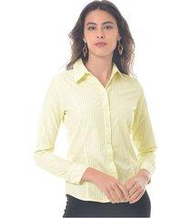 camisa para mujer en popelina multicolor color-amarillo-talla-s