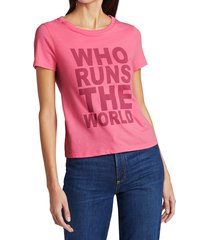 alice + olivia women's cicely classic t-shirt - pink - size xs