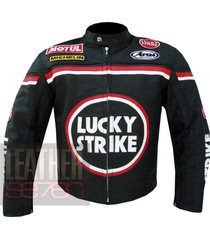 lucky strike 0113 black leather motorcycle biker armour racing jacket coat