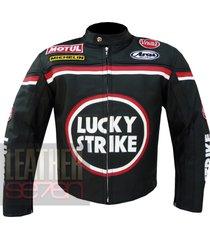 lucky strike 0113 black leather motorcycle biker armour racing jacket coat