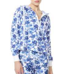 women's alice + olivia quinlan floral half zip crop hoodie, size x-large - white