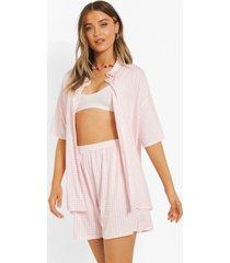gingham overhemd en shorts set, pink