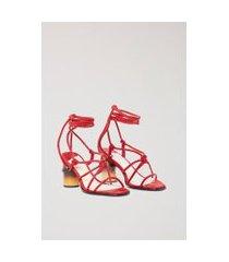 sandália de camurça salto médio bambo vermelho cabernet - 34