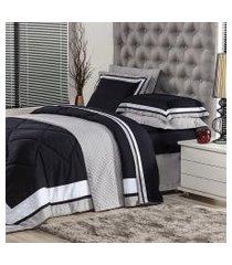 jogo de cama solteiro plumasul soft comfort 3 peças preto