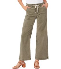 women's paige carly tie high waist ankle wide leg jeans, size 24 - green