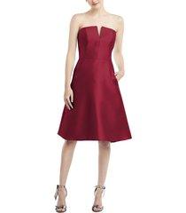 women's alfred sung strapless satin twill cocktail dress, size 18 - burgundy