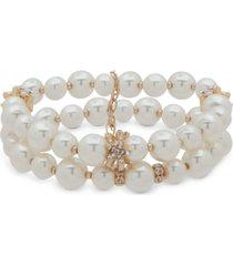 anne klein gold-tone imitation pearl & crystal flower stretch bracelet