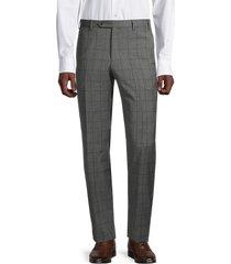 zanella men's devon windowpane wool pants - medium grey - size 40