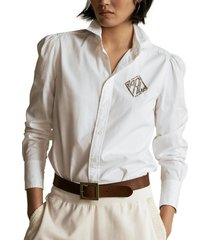 blusa beaded-monogram oxford blanco polo ralph lauren