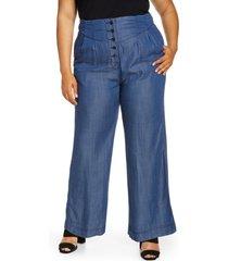 plus size women's standards & practices wide leg pants, size 3x - blue