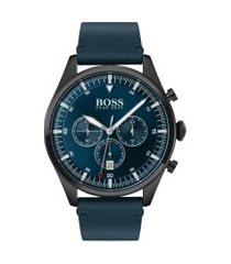 relógio hugo boss masculino couro azul - 1513711