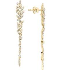 effy diamond leaf drop earrings (5/8 ct. t.w.) in 14k gold