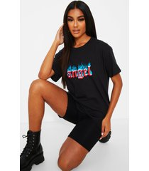 angel with flames slogan t-shirt, black