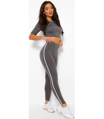 side stripe crop top and legging coord, charcoal