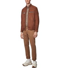 boss men's joke slim-fit suede biker jacket