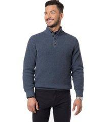 sweater half button denim arrow