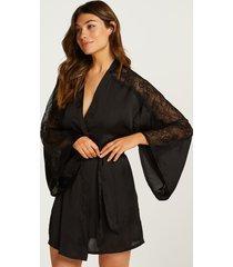 hunkemöller kimono lace i satin svart