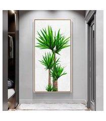 quadro 100x50cm folhas tropicais palmeira jardim canvas em moldura flutuante filete