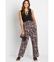 maurices womens black floral strappy neck jumpsuit