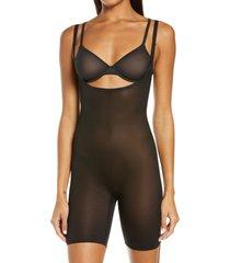 women's skims sheer sculpting open bust bodysuit, size xx-small - black