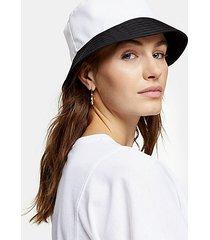 black and white contrast nylon bucket hat - monochrome