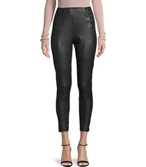 lace-up faux leather cropped pants