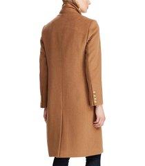 women's lauren ralph lauren double breasted wool blend coat, size 14 - brown