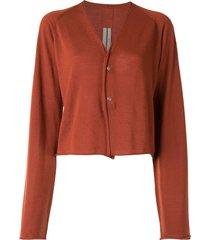 rick owens lightweight wool knit cardigan - orange
