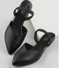 sapatilha feminina beira rio conforto bico fino com elástico preta