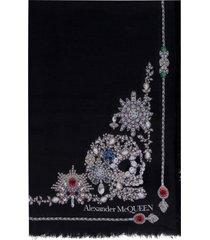alexander mcqueen treasure skeleton silk scarf