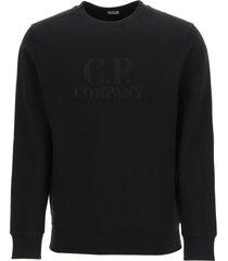 c.p. company diagonal raised fleece sweatshirt with logo embroidery