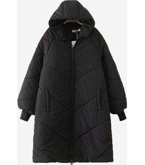 cappotto lungo con cappuccio casual tinta unita