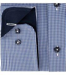 sleeve7 heren overhemd donker- en lichtblauw wit geruit poplin modern fit