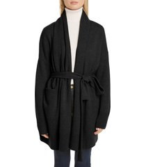women's co essentials wool & cashmere long belted cardigan, size x-large - black