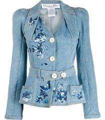 christian dior pre-owned belted denim jacket - blue