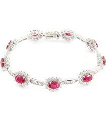 diamond ruby 18k white gold link bracelet