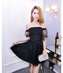 pf099 sweet off neckline tunic dress w mesh dress, free size, black