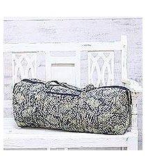 cotton travel bag, 'floral slumber' (india)